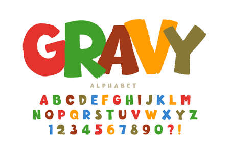 Trendy comical original alphabet design, colorful, typeface. Illustration