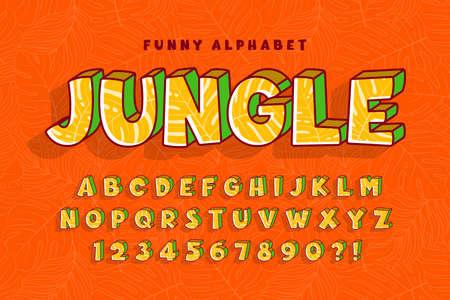 Trendy comical jungle alphabet design, colorful, typeface.