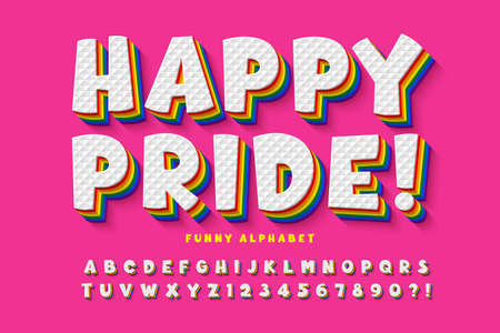 Original display rainbow font design, alphabet, letters and numbers.