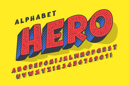 Trendy 3d comical design, colorful alphabet, typeface.