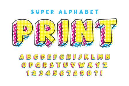 Halftone comical original alphabet design, colorful, typeface.