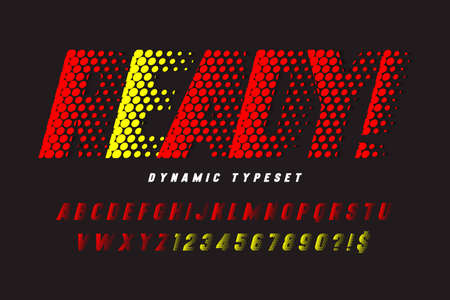 Dynamic alphabet design, vector letters and numbers.