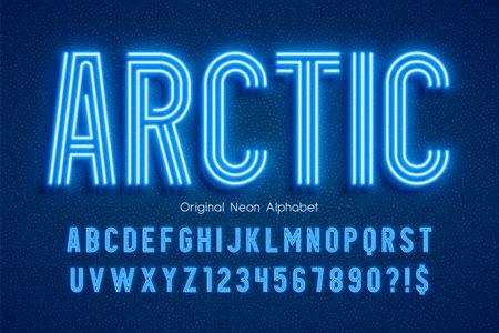 Neon light 3d alphabet, extra glowing modern type Standard-Bild