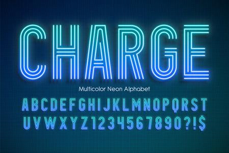 Neon light multicolor alphabet, extra glowing modern type Standard-Bild