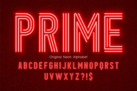 Neon light 3d alphabet, extra glowing modern type Illustration