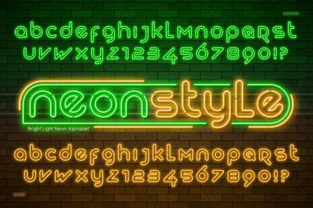 Neon light alphabet, extra glowing modern type.