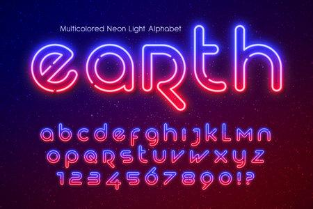 Neon light alphabet, extra glowing futuristic type.