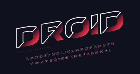 Sliced sans serif vector alphabet, cut font, letter and number set