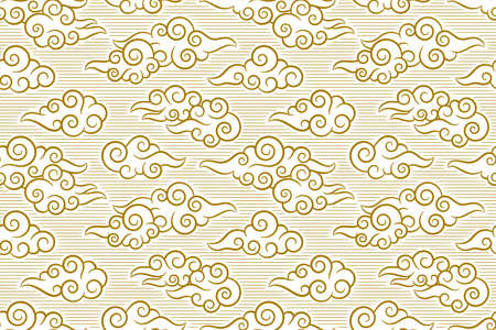 Seamless pattern in oriental style, chinese clouds background.