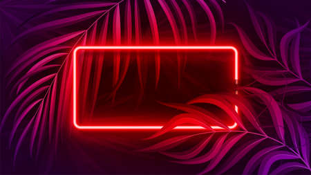 Neon light banner in fluorescent color, tropical background concept. Ilustrace