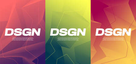 Vivid gradient abstract designs, colorful covers vector backgrounds