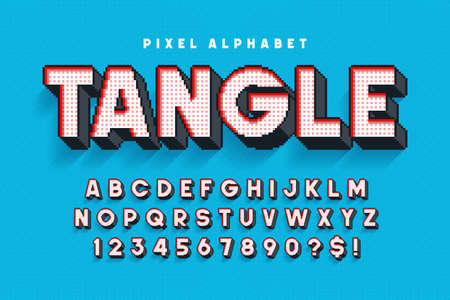 Pixel vector alphabet design, stylized like in 8-bit games. High contrast, retro-futuristic. Ilustrace