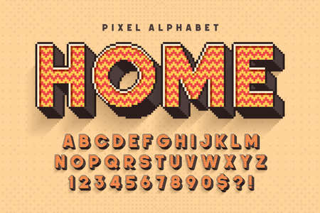 Pixel vector alphabet design, stylized like in 8-bit games. Ilustrace
