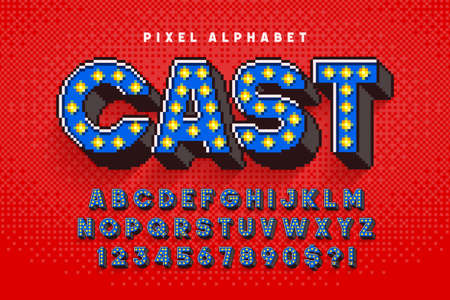 Pixel Broadway show alphabet design, stylized like in 8-bit games. Ilustrace