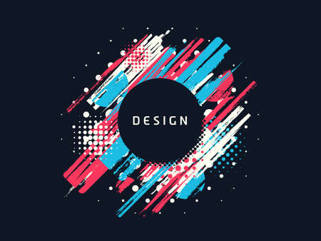 Vector paint brush promotion template design, colorful geometric sale banner Иллюстрация