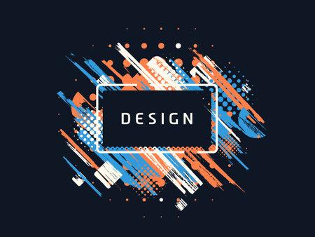 Vector paint brush promotion template design, colorful geometric sale banner 向量圖像