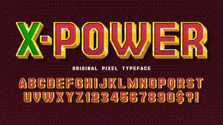 Pixel vector alphabet design, stylized like in 8-bit games. Иллюстрация