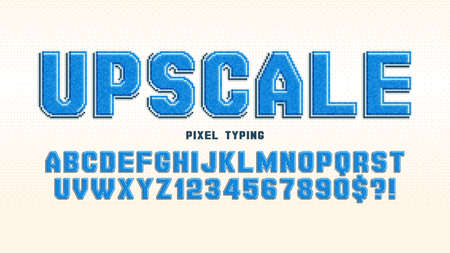 Pixel vector alphabet design, stylized like in 8-bit games. High contrast and sharp, retro-futuristic.
