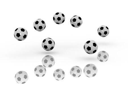 A 3d image of soccer balls bouncing group.