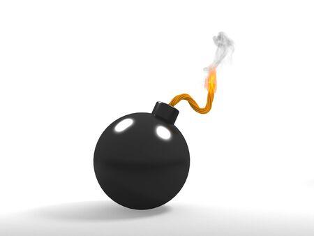 A 3d image of black bomb burning. Isolated on white.