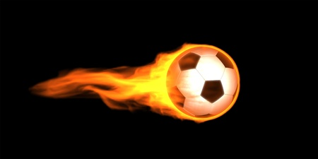 Fire Soccer ball image. On black background.