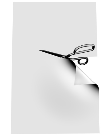 scissors cutting paper: Scissor clipping empty blank. 3d image. Stock Photo