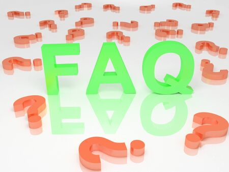 A 3d image of green faq sign with red question signs. Stock Photo