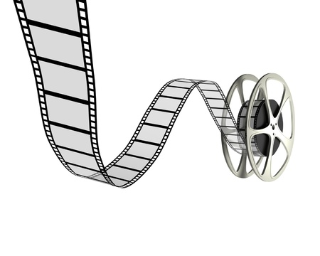 A 3d image of retro film reel isolated on white.