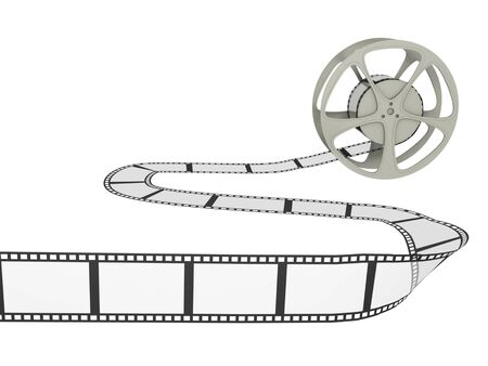 A film reel with long curvy strip. Isolated on white. Stock Photo