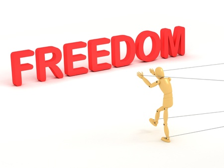 A 3d image of puppet which trying to achieve its freedom.