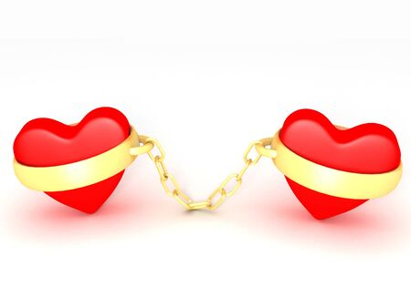 A 3d image of two hearts engaged with golden rings.