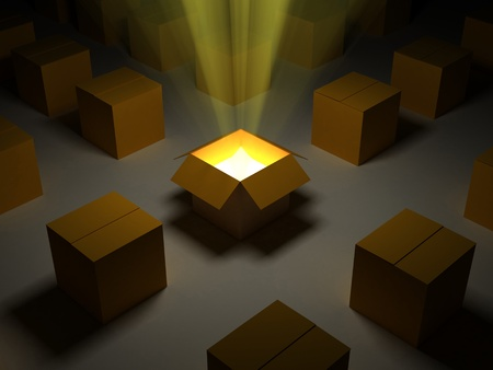 A 3d image of opened carton box with orange lights.