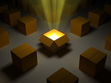 Een 3D-beeld van geopende kartonnen doos met oranje lichten.