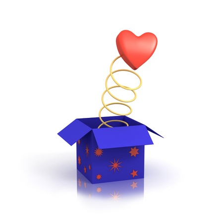 Love is jumping from the blue box.