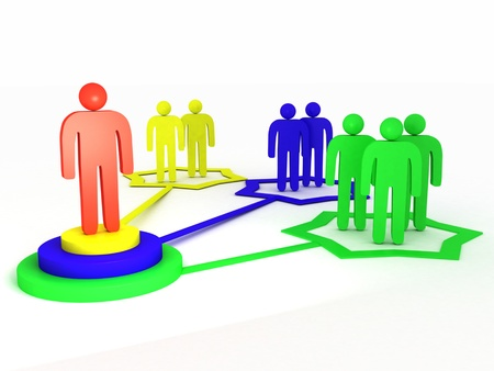 A 3d image of network teamwork with different levels.
