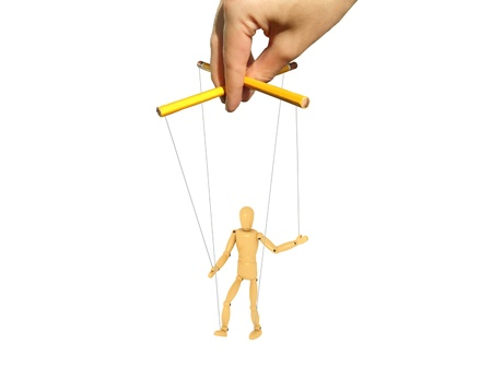 and authority: Una imagen 3D de t�teres y fotograf�a de mano maestra.