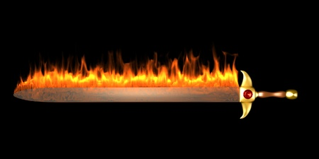 infernal: An image of burning fire sword, isolated on black background. Stock Photo