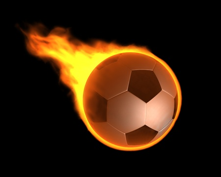 A 3d image of burning ball flying.