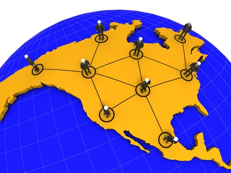 A 3d image of North America business network concept.