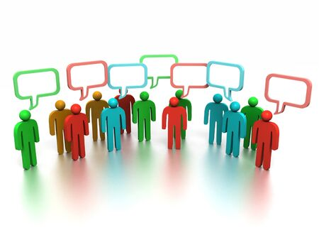 A 3d image of people group which discussing something.