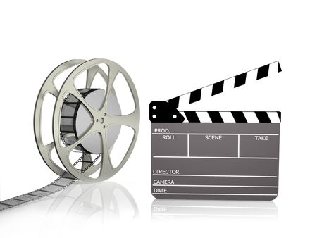 Film reel with Clapperboard isolated on white. Stock Photo