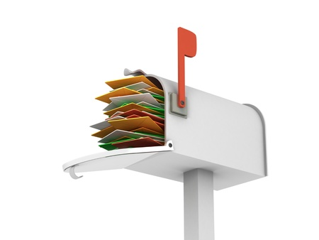 e mail: A 3d image of full mailbox. Isolated on white with clipping path.