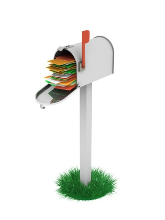 A 3d image of full mailbox of letters. Stock Photo