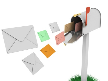A 3d image of mailbox with letters flying. Stock Photo
