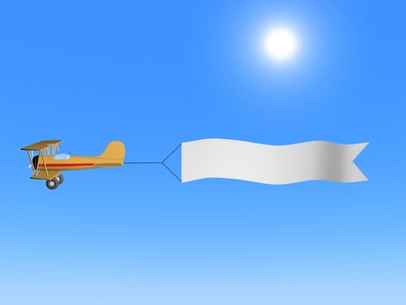 A 3d image of airplane with white blank against blue sky.