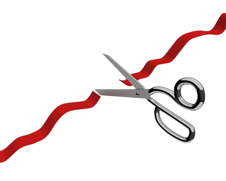 A 3d image of cutting the red ribbon ceremony.  Stock Photo