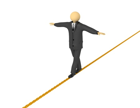 A 3d image of businessman balancing on tight rope.