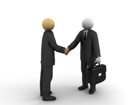 A 3d image of two businessmen having a deal. Stock Photo