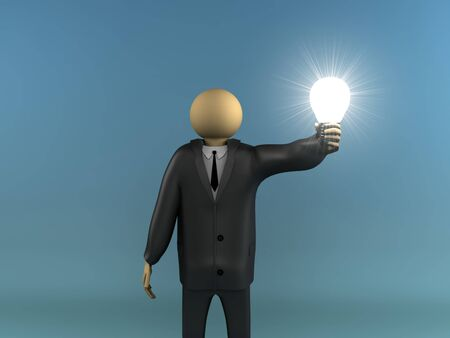 A 3d image of business man with shiny light bulb.