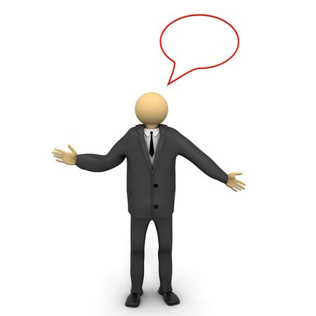 A 3d image of businessman with speech bubble.